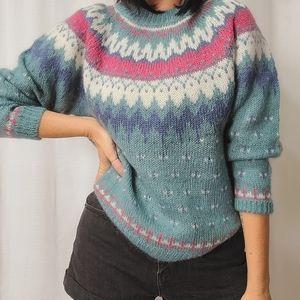 Vintage mohair Nordic fair isle pastel 80s sweater
